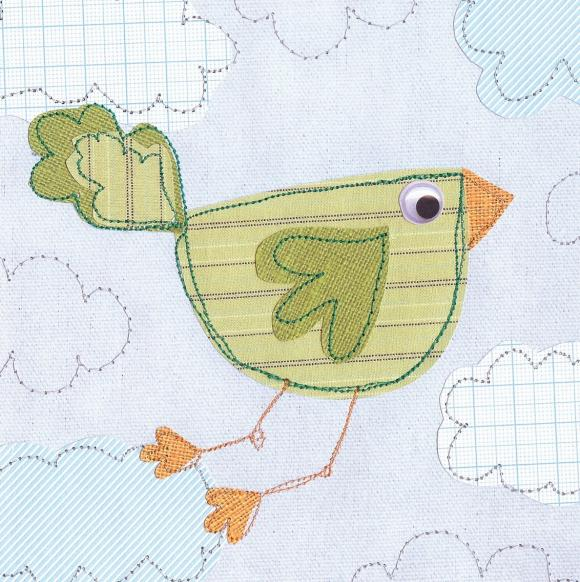 SALE Set of 2 Greetings Cards - Flying birdy and Flowers